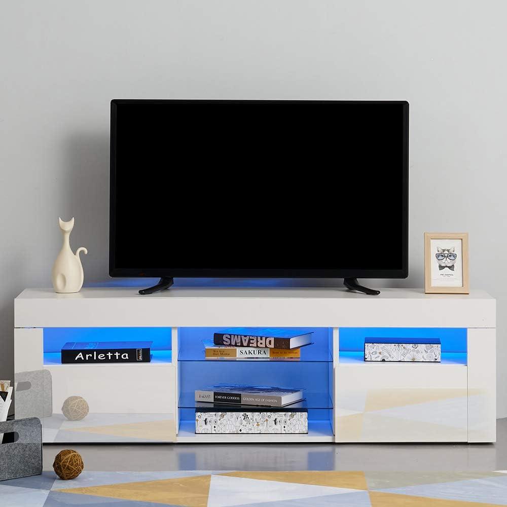 Panana - Mueble de TV Moderno con Luces LED Frontales de Alto Brillo para TV con Puertas y estantes para Sala de Estar: Amazon.es: Hogar