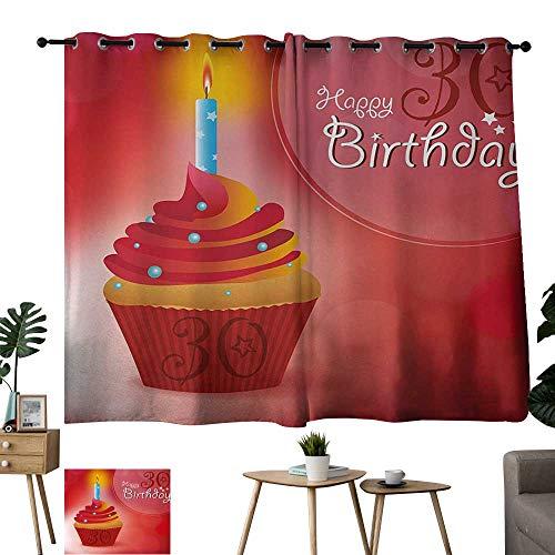 WinfreyDecor 30th Birthday Insulated Sunshade Curtain Cute Cupcake