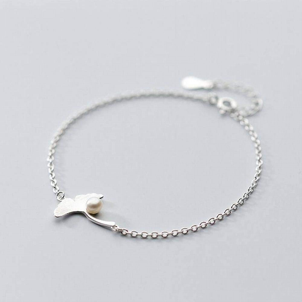 Bangles Bracelets S925 Ginkgo Leaf Bracelet Female Sweet Style Brushed Leaves Artificial Pearl Art LOt