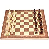 VGEBY Wooden Chess Set, Folding Wooden Chess Board and Game Pieces with Built in Storage