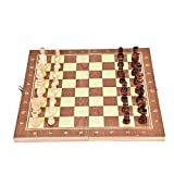 Dioche Wooden Chess Set, Portable Wooden Chessboard Folding Board Chess Game for Party Family to Have Fun