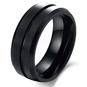 8mm Black Retro Style Streamline Tungsten Steel Ring For Men Wedding Band Sizes 7 To