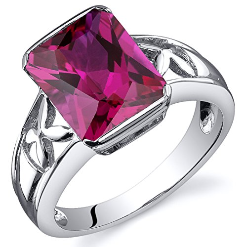 Radiant Ruby Ring - 4.25 Carats Created Ruby Ring Sterling Silver Rhodium Nickel Finish Radiant Cut Size 8