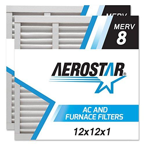 12x12x1 AC and Furnace Air Filter by Aerostar - MERV 8, Box of 2