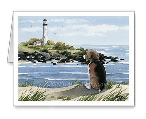 Beagle at the Beach - Set of 10 Beagle Watercolor Note Cards With Envelopes