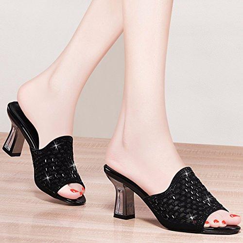 Tacones Sandalias Tacones Y Zapatos Con Black Zapatillas De QPSSP Tacones Mujer a7qtFHX