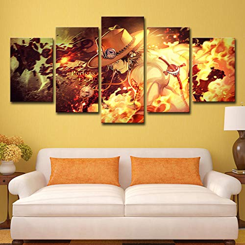 Canvas Hd Prints Paintings Modern Wall Art Anime Poster 5 Panel One Piece Ace Pictures for Living Room Home Decor Frame 5p0581 no Frame M: 10X15-2P 10X20-2P 10X25-1P inch