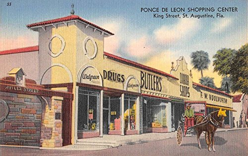 St Augustine Florida Ponce De Leon Shopping Center Antique Postcard - Augustine Center Shopping St