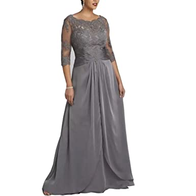 6416381d2a3 Chady 2019 Plus Size Grey Mother of The Bride Dress 3 4 Sleeve Scoop Neck