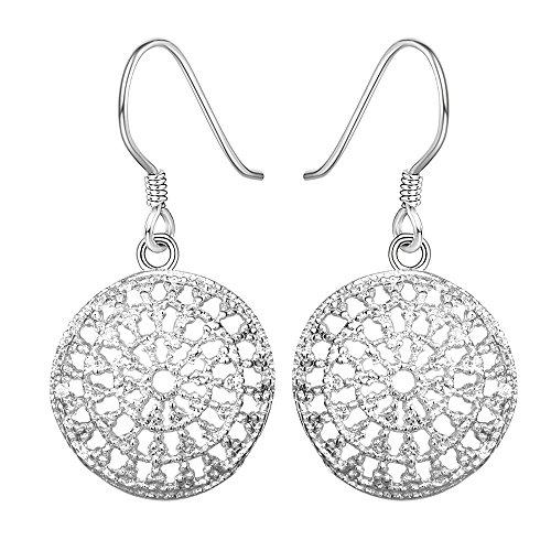 AMBESTEE Women Girls Sliver Plated Fashion Lovely Design Drop Dangle Pendant Earrings Gift (Hollow)
