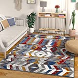 Well Woven Heritage Multi Red Blue & Yellow Modern Tribal High-Low Pile Area Rug 5×7 (5'3″ x 7'3″) Southwestern Stripes Geometric Carpet, F For Sale