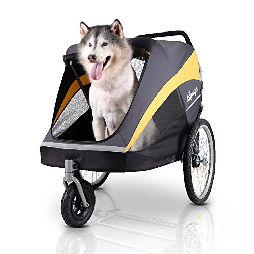 ibiyaya Large Pet Stroller for one Large or Multiple Medium Dogs with air Filled tire Suspension and Aluminum Frames For Sale