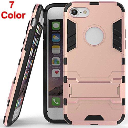 """AOFad Rose Or Coque Pour iPhone 7,[4.7""""], Béquille Vidéo, Protection des lourds Plastique TPU 2 à 1 Série TF010"""