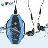 AGPTEK 8GB Waterproof Swimming MP3 Player with Clip, Comes with IPX8 Waterproof Headphones Armband for Swimming, Running Sports, S05E Music Player, Blue