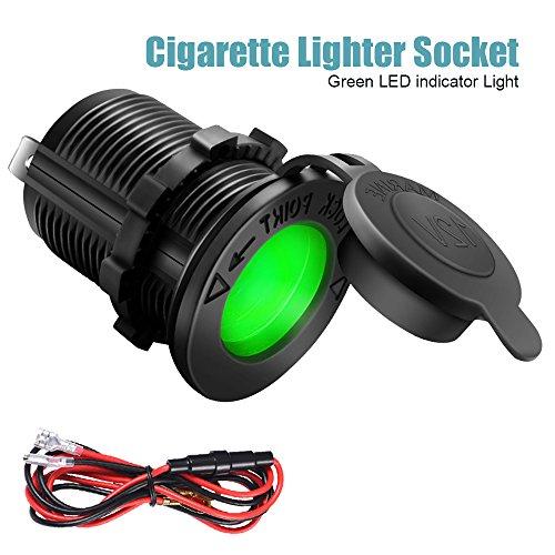 Cigarette Lighter Socket Car Marine Motorcycle ATV RV Lighter Socket Power Outlet Socket Receptacle 12V Waterproof Plug (LED Green) by ZHSMS