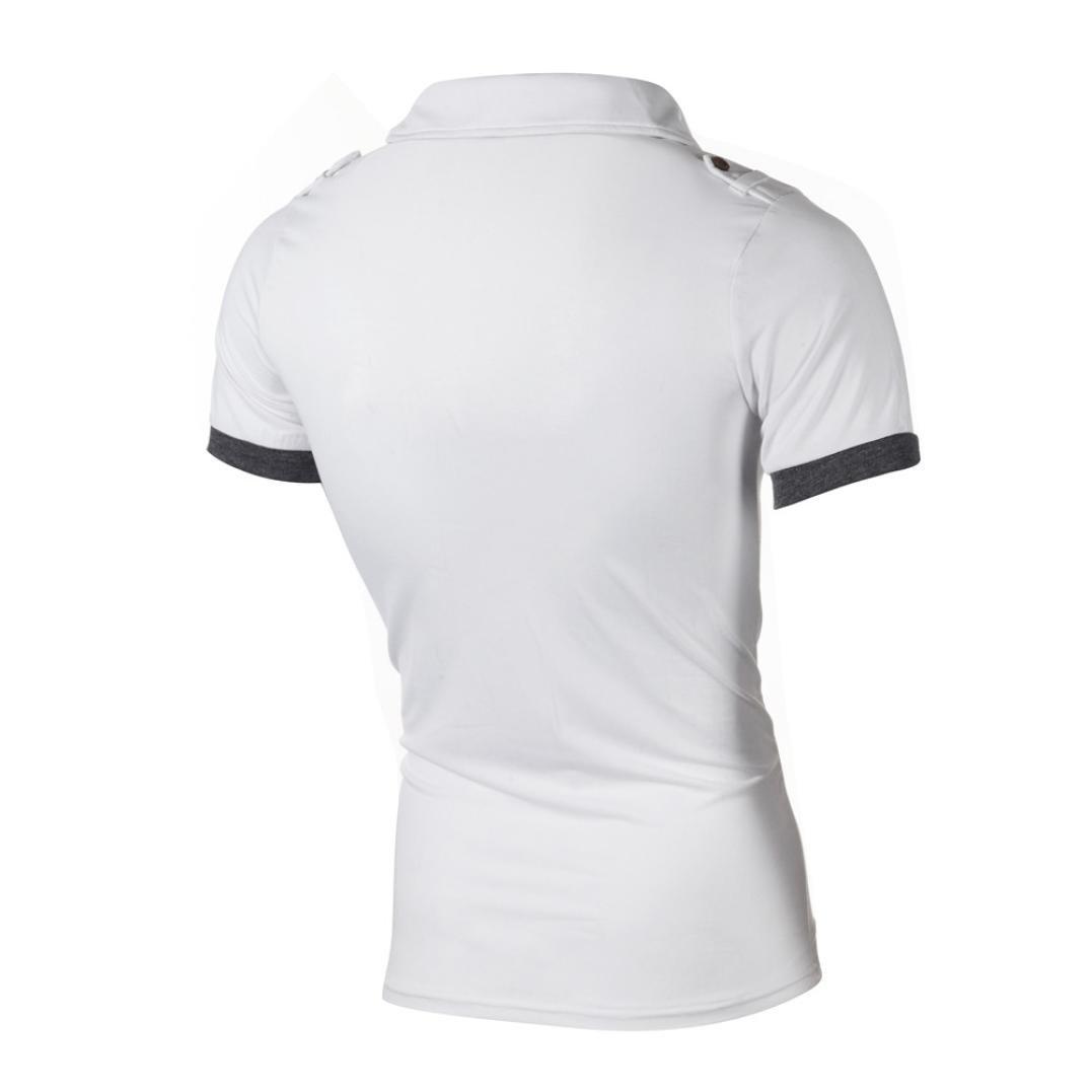 6560f8cfb67a7 2018 Neue Revers T-Shirt Herren, DoraMe Männer Mode Sommer Casual Schlank  Kurzarm Poloshirt Slim Fit Persönlichkeit Hemd Knöpfe Patchwork Bluse  V-Hals ...