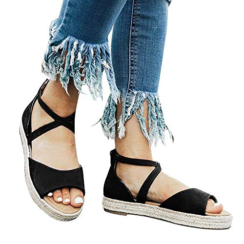 SNIDEL Platform Sandals for Women Peep Toe Flat Wedge Strappy Sandal Summer Casual Espadrille Shoes Black