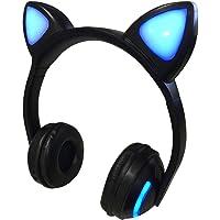 Fone de Ouvido Headphone Bluetooth Orelha de Gato LED Preto