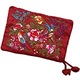 Silky Embroidered Brocade Travel Jewelry Organizer Roll Pouch - Burgundy