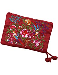 Silky Embroidered Brocade Travel Jewelry Organizer Roll Pouch