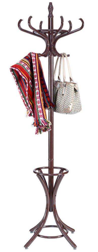 Wood Standing Hat Coat Rack Jacket Bag Hanger Tree 12 Hooks w/ Umbrella Stand