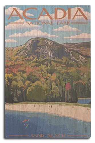 Lantern Press Acadia National Park, Maine - Sand Beach Scene (10x15 Wood Wall Sign, Wall Decor Ready to Hang)