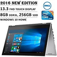 Dell Inspiron 7000 13.3-Inch Touchscreen Laptop (Intel Core i7, 8GB, 256GB SSD, No DVD, Backlit Keyboard, Stylus, Bluetooth, Windows 10) - Silver