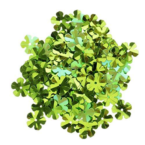 100Pcs Shiny Flowers Loose Sequins Paillettes DIY Sewing Costumes Dancewear | Color - Light Green]()