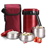 SHICCF Thermal lunch box- stainless steel Lunch Box with Insulated Lunch BagStackable Stainless Steel Portable Bento Lunch Box with Handle +3Layers Carrying Bag