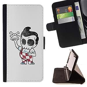 BullDog Case - FOR/HTC One M8 / - / PIZZA BOY SKULL SKELETON ITALIAN FUNNY /- Monedero de cuero de la PU Llevar cubierta de la caja con el ID Credit Card Slots Flip funda de cuer