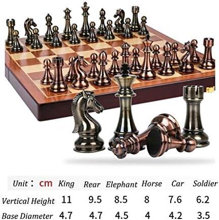 Schaakbord Reizen Dammen Schaken Metal brons en messing schaakstukken Solid Houten Folding Chess Board Game geplaatste schaakstukken Klassiek schaakspel