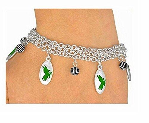 Mirror Silver Tone Green Mascot-eagles-falcons Hawks Bracelet by Lonestar Jewelry