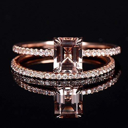 (2PCS 14K Morganite Engagement Ring Rose Gold Emerald Cut Real Diamond Solitaire Unique Bridal Set Wedding Band Women)