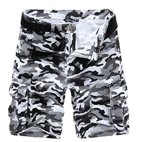 Ouye Men's White Camouflage Cargo Shorts 36