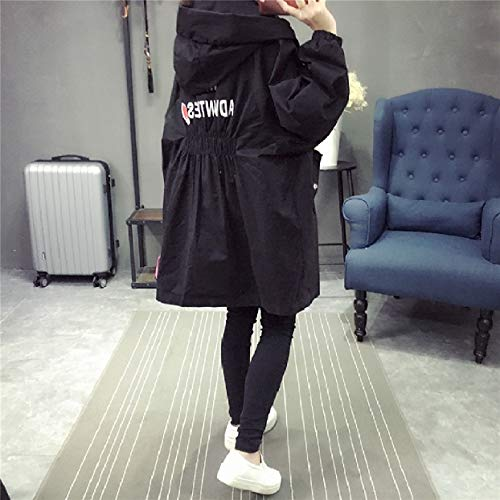 Trench Women's Tunic Autumn Hood Up Zip Mid Jacket Black Anoraks Long RkBaoye qtYwat