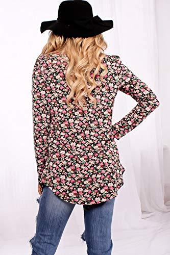 Blouses Shirt Manches T Casual Printemps Hauts Femmes Col Tops Automne et Jumpers Rond Imprime Longues Tee Noir Tunique Blouse Mode Chemisiers vzzwqHFx