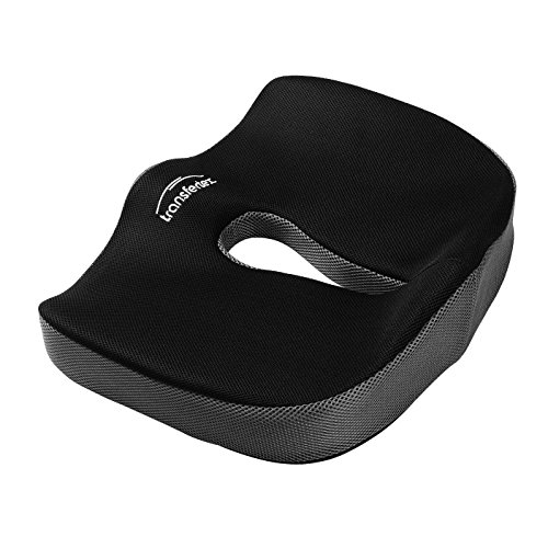 Tailbone Seat Cushion Black Memory Foam for Lower Back Pain Sciatica Relief and Posture Support