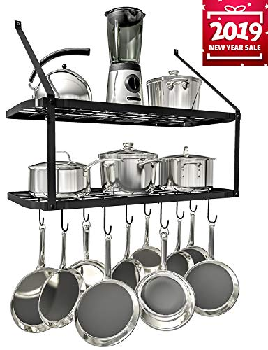 VDOMUS Shelf Pot Rack Wall Mounted Pan Hanging Racks 2 Tire