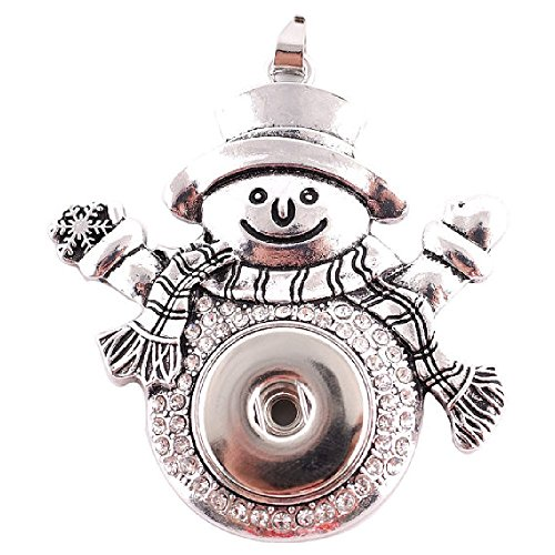 My Prime Gifts Interchangeable Snap Jewelry Rhinestone Christmas Snowman Pendant holds 18-20mm Snap