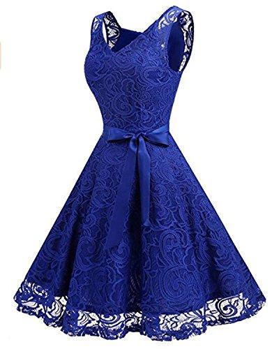 Cocktail Abiti Spalla Kidsform Abiti Da Slim matrimonio Blu Pizzo Una Donna Dance Vestito Sera Dress Vintage Party gwqFt