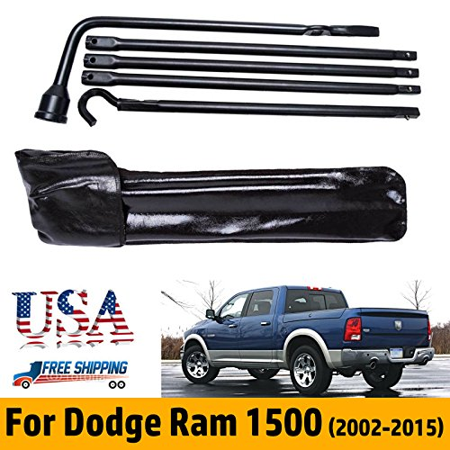 Spare Tire Lug Wrench Kit with Storage Bag for Dodge Ram 1500 2002-2015 5pcs Irons Replacement for Jack Truck Pickup Repair Change Tools