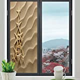 YOLIYANA Decorative Privacy Window Film,Starfish Decor,for Fome Bedroom Kitchen Office,Christmas Tree from Shells on Sand Maritime Summer,24''x70''