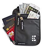 Zero Grid Neck Wallet w/RFID Blocking- Concealed Travel Pouch & Passport Holder (Shadow Grey)