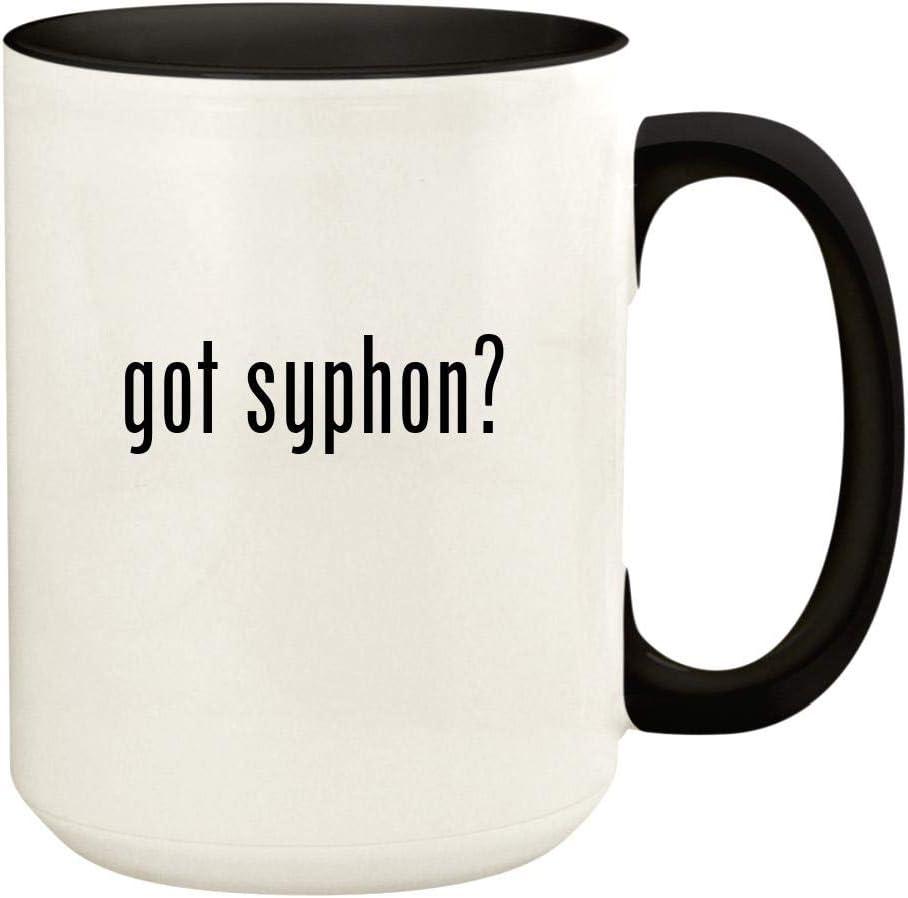 got syphon? - 15oz Ceramic Colored Handle and Inside Coffee Mug Cup, Black