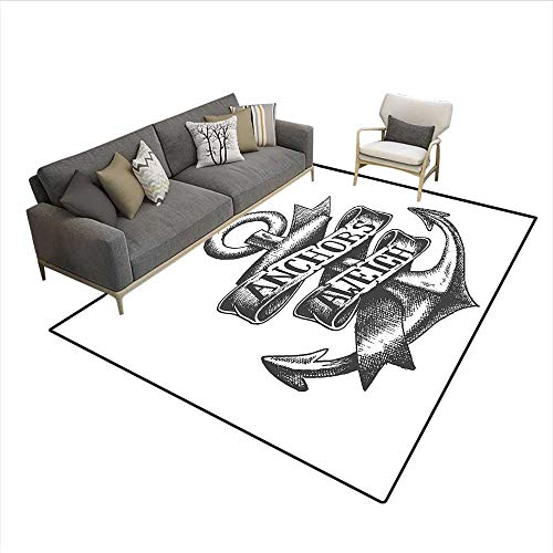 Carpet,Tattoo Style Navy Symbol Sketch with Ribbon and Vintage Lettering Insignia,Indoor Outdoor Rug,Charcoal Grey White 5'x8'