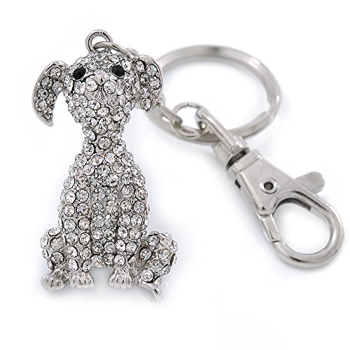 Avalaya Clear Austrian Crystal Dog Keyring/Bag Charm In Silver Tone - 11cm ()