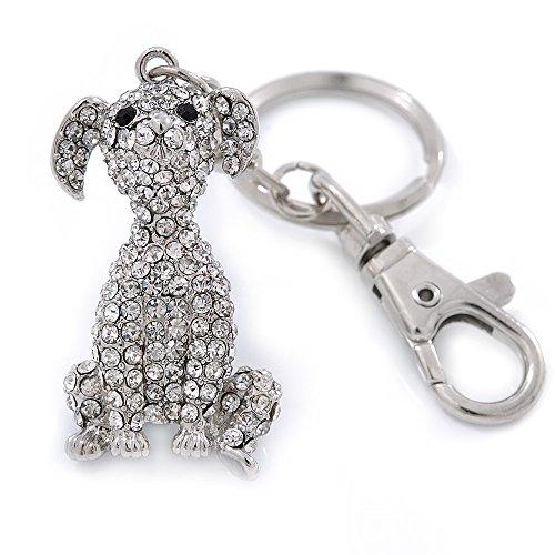 (Avalaya Clear Austrian Crystal Dog Keyring/Bag Charm In Silver Tone - 11cm L)