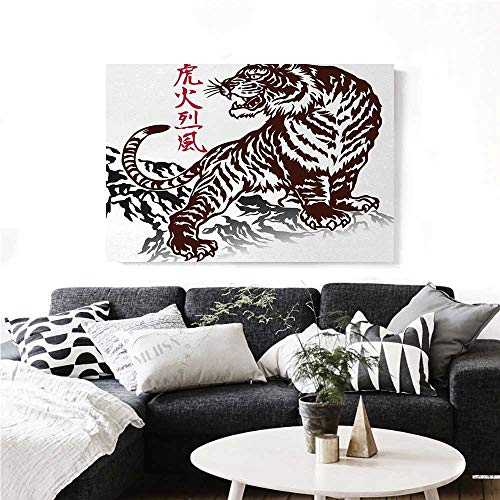 n Canvas Painting Wall Art Wild Chinese Tiger with Stripes and Roaring While its Paws on Rock Asian Pattern Art Stickers 28
