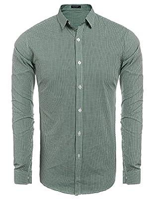 Coofandy Men's Slim Fit Button Down Shirts Non-Iron Dress Shirt