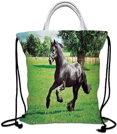 Animal Decor Drawstring Backpack Bag,Firesian Male Horse Masculine Driving Force of Life Power Inner Strenghth Symbol Print Lightweight Sports Gym Bag for Women Men Children,Black Green